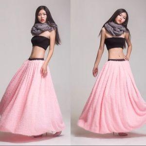 AMAZING fuzzy pink full maxi skirt thick fabric
